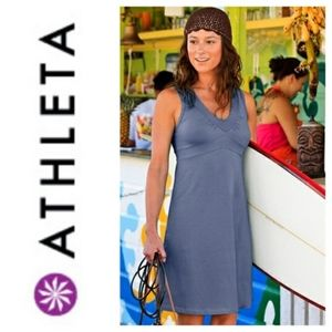 Athleta Blue V Neck Ruched Athleisure Tank Dress